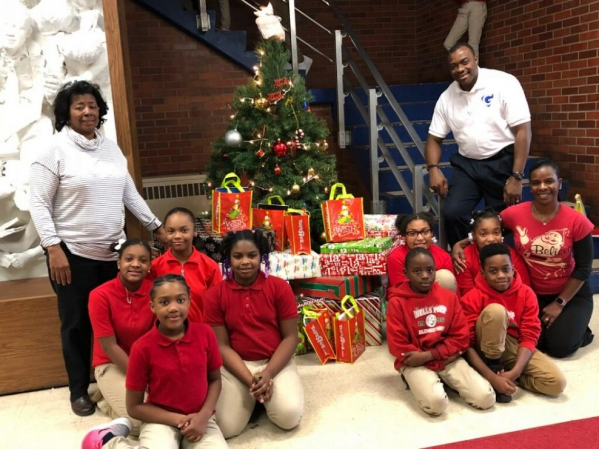 L&S Office Supplies Inc. donating holidays gift bags and presents to our school