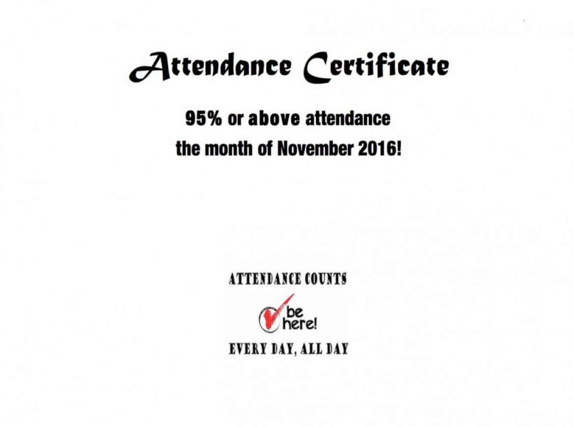 Attendance Certificates 95% and above
